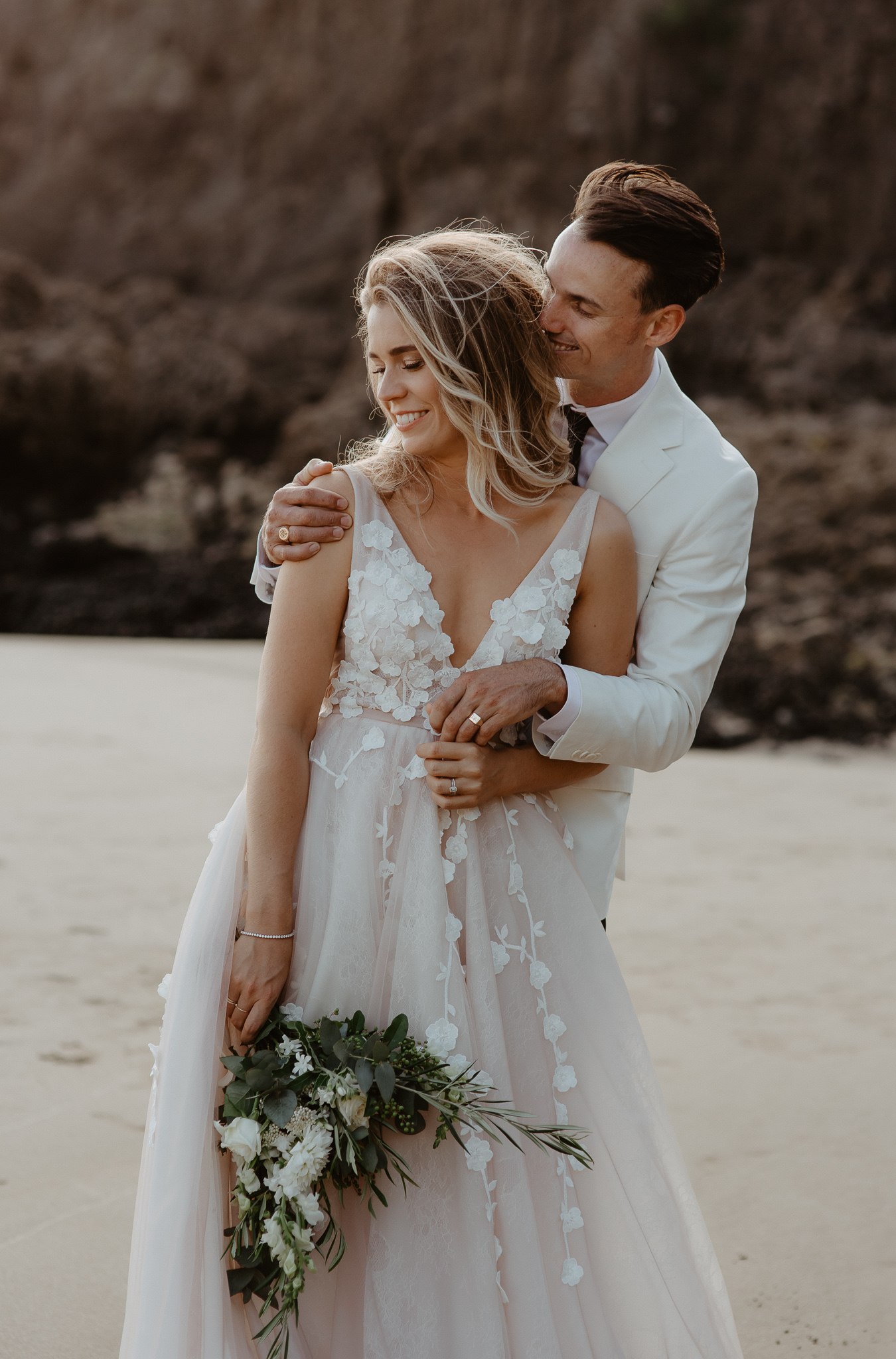 Jenna and Dave Hera Couture Lavant Blush wedding Dress Beach Piha