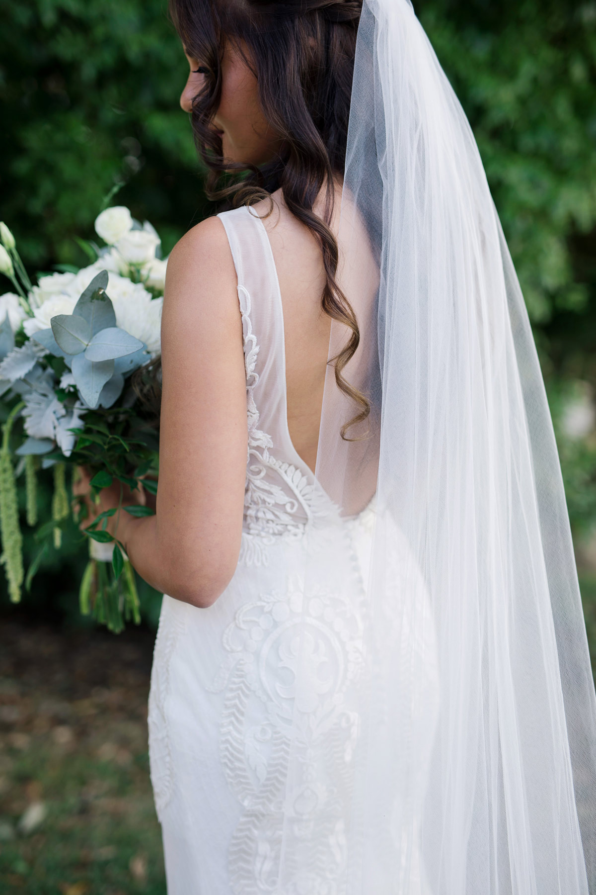 Amanda+Zane Benedetti Wedding Dress Back Veil 0358