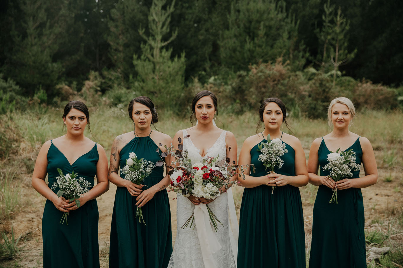 Elyssa Taulapiu Hera Bosset Gown Green And White Outdoors Bridesmaids Lineup