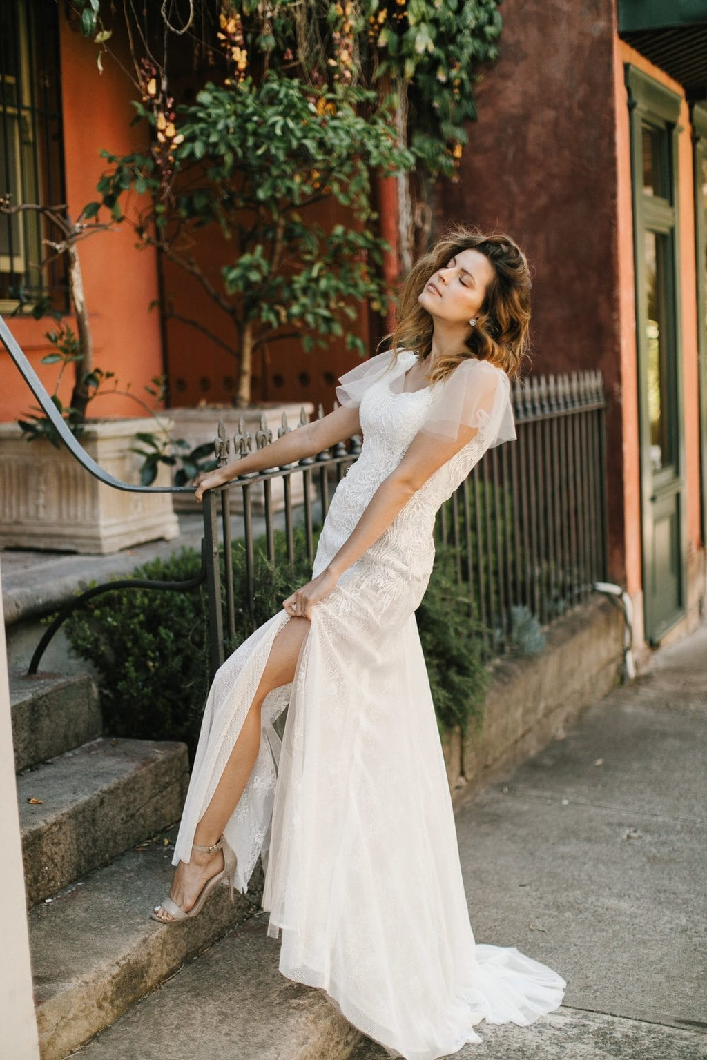 06 Hera Couture Beckett Wedding Dress Standing On A Step Split