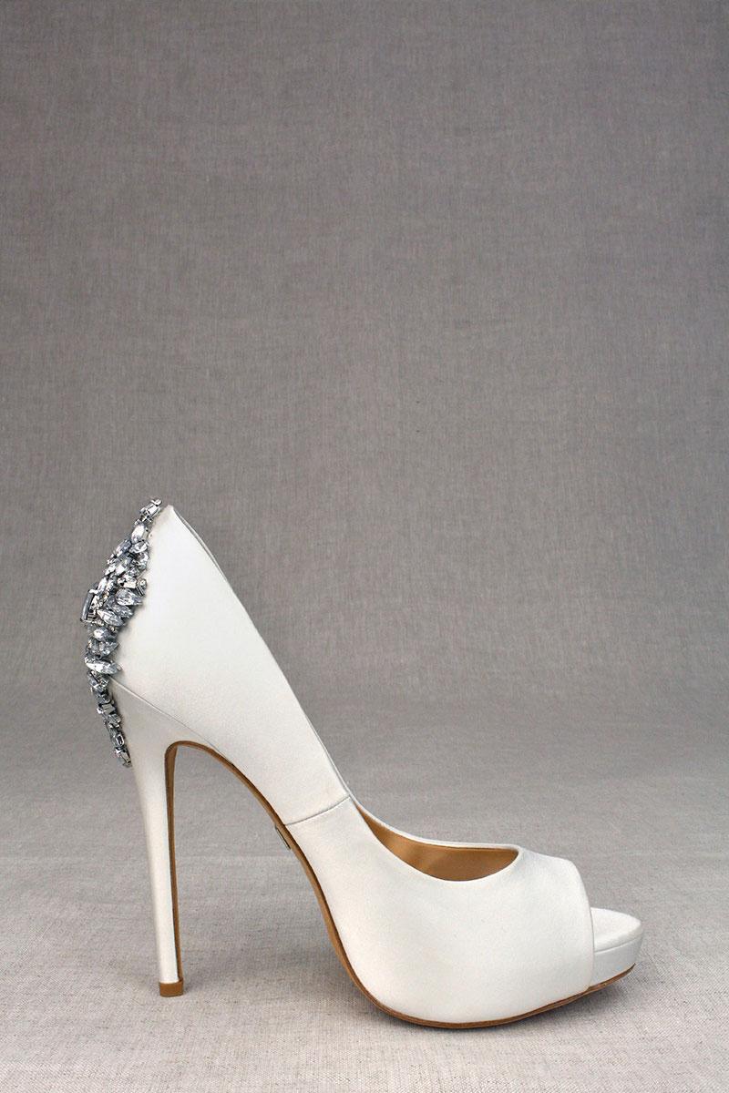 Kiara embellished peep-toe pump in