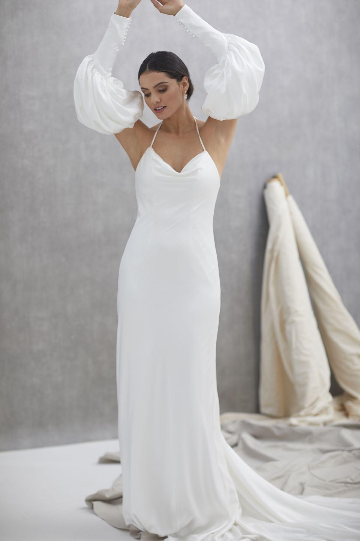 Alba Sleeves Crush Satin Wedding Gown 21_1630
