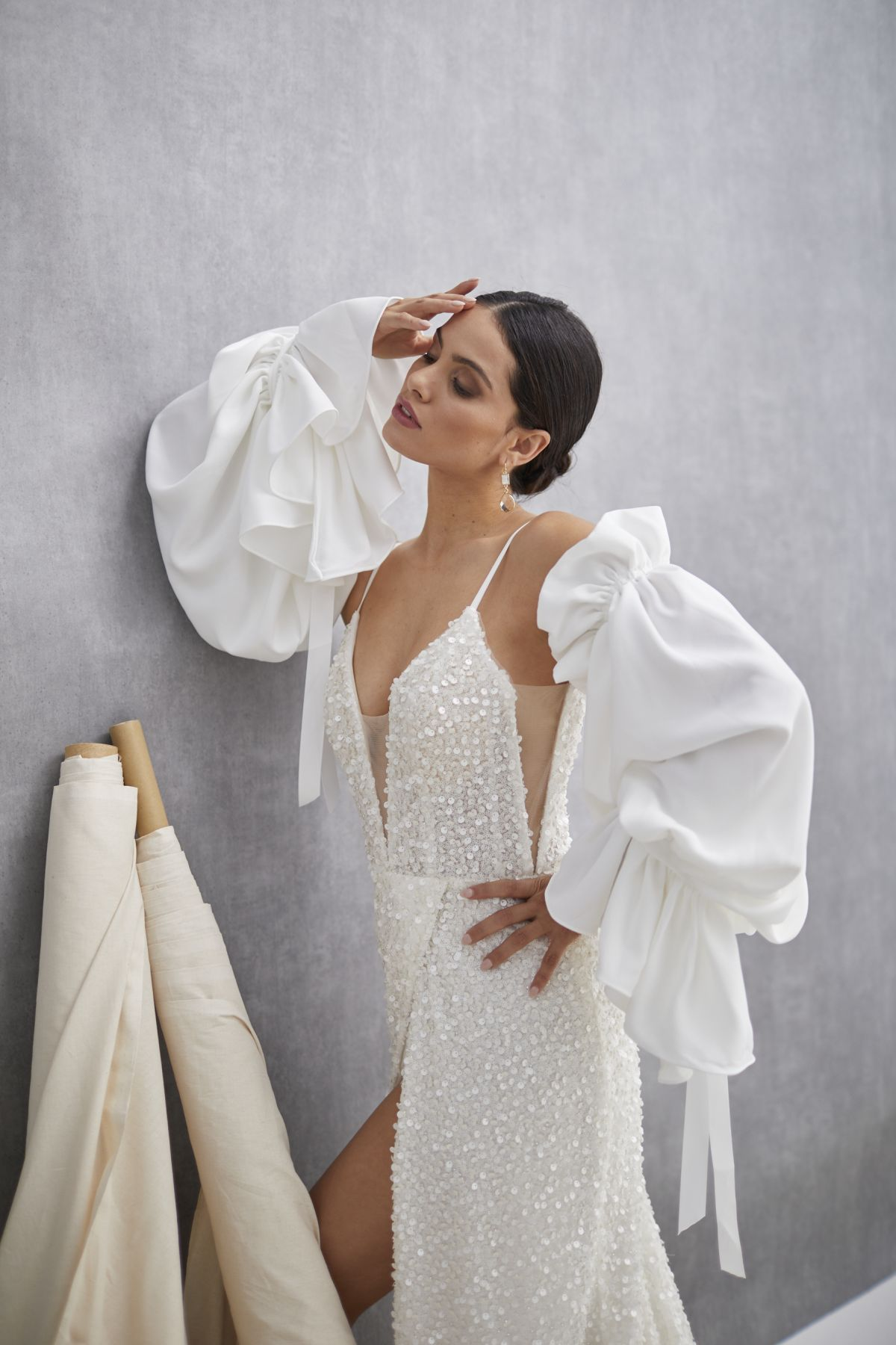 Inverno Sleeves French Crepe Wedding Gown 48_3356