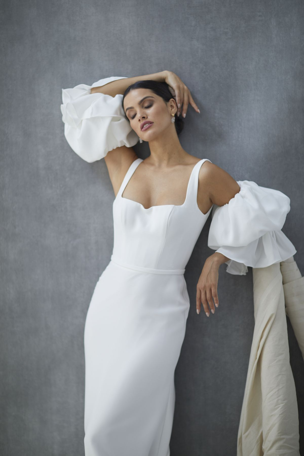 Nebbia Sleeves French Crepe Wedding Gown 34_2436