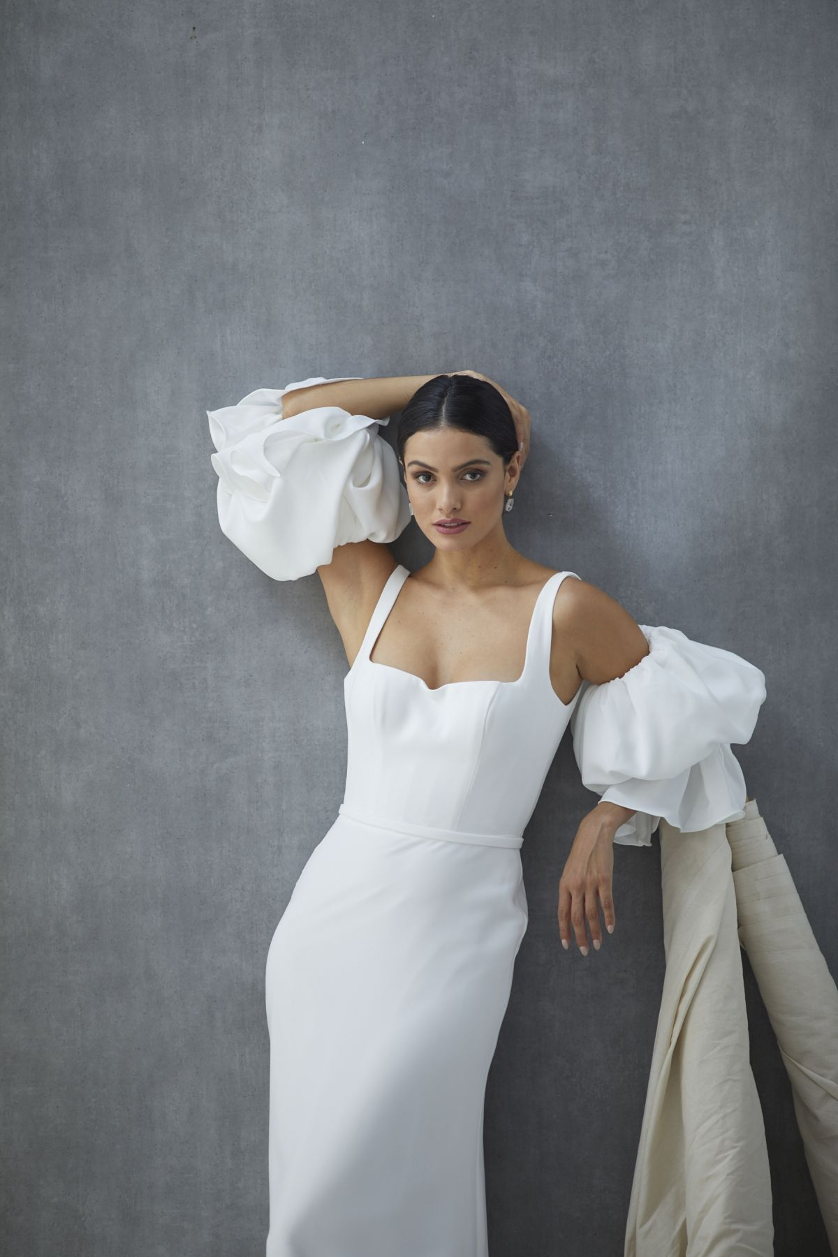 Nebbia Sleeves French Crepe Wedding Gown 34_2446