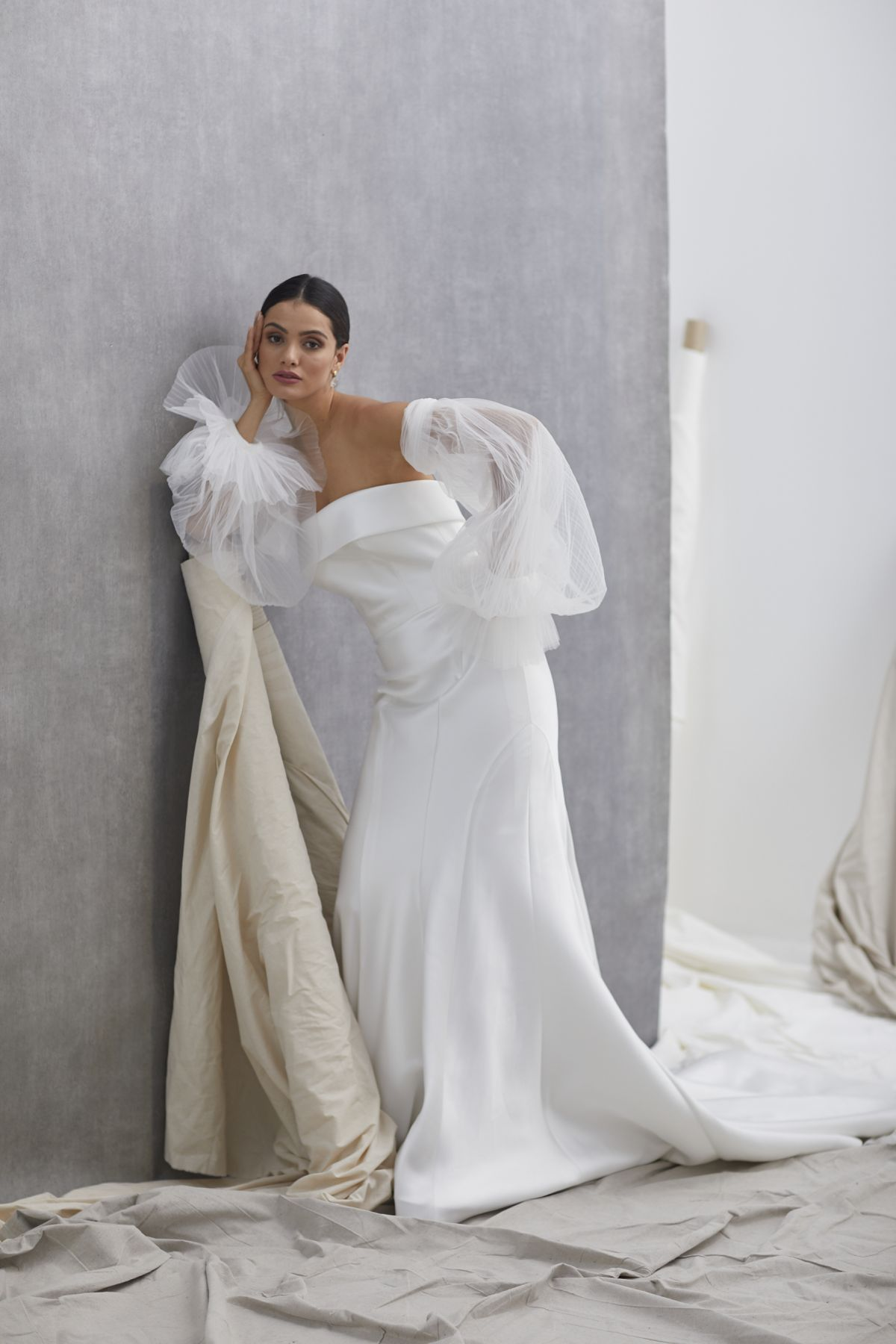 Neve Sleeves Pleated Tulle Wedding Gown 29_2136
