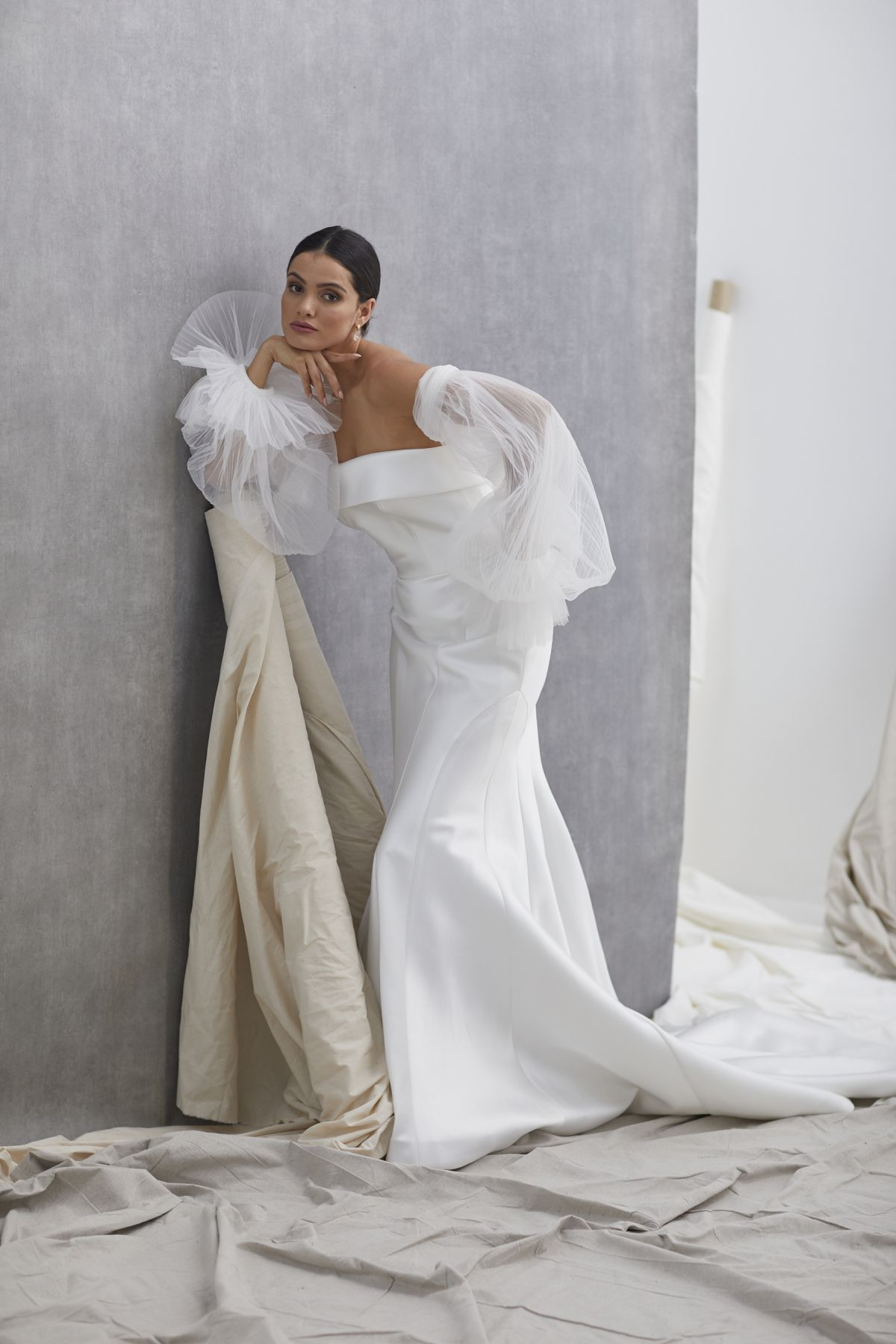 Neve Sleeves Pleated Tulle Wedding Gown 29_2138