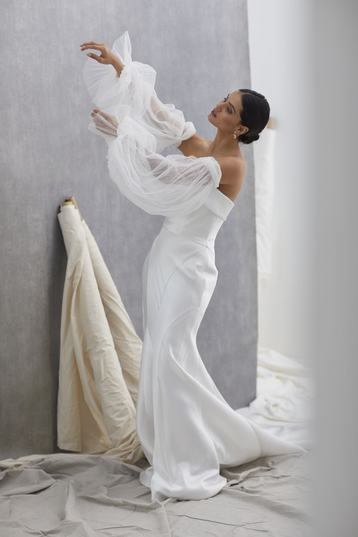 Neve Sleeves Pleated Tulle Wedding Gown 29_2146