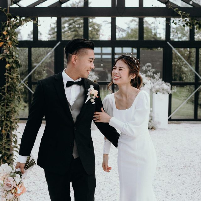 """I completely fell in love with all the intricate details in my gown, the beautiful French crepe, and how it enhanced my body, giving me a figure I didn't know I had!"" Real bride, Vicky, wears a customised LE VIE from our latest Minimalist II Collection ♡  Photography: @jesseandjessieweddings Florals: @onmyhand Hair & Make-up: @yuyujinli_makeup Venue: @blackwalnutvenue"