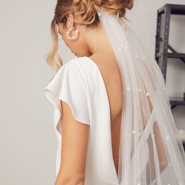 Effortless. Soft. Seamless.  Renee wearing Hera l Indra gown crafted in French crepe, Minimalist pearl Veil + Brooke Fresh water pearl hoop earrings.
