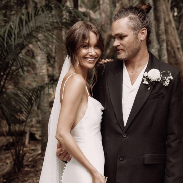 """Stunning couple - Rosalie + Myles 🤍A huge congratulations to you both! 🥂We cannot get enough of your wedding moments! We love your styling + chill vibe + Little Rock n' roll & traditional modern twist.    In Rosalie's own words: """"Hera in a few words...chic, genuine, New Zealand - owned, premium & simply stunning.""""  @rosalieburns featured in @fashionquarterly + wedding story to come..."""