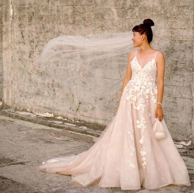 #HCBride Aya wearing the hand-crafted Toussaint Blush gown #HeraCouture
